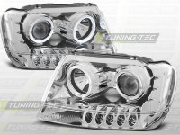 фары передние ANGEL EYES CHROM  для Jeep Grand Cherokee 99-05